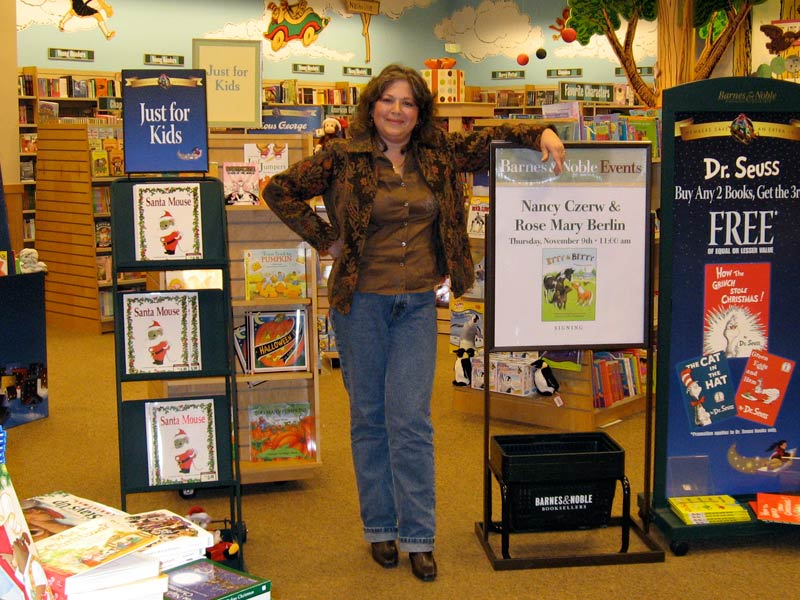 Our illustrator, Rose, in a New York City Barnes & Noble